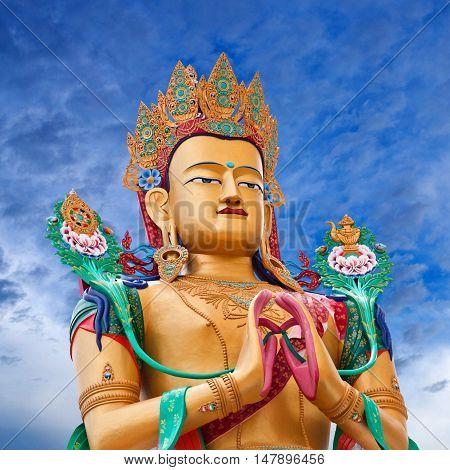 LADAKH, INDIA - JUNE 14, 2012: Statue of Maitreya Buddha near Diskit Monastery.