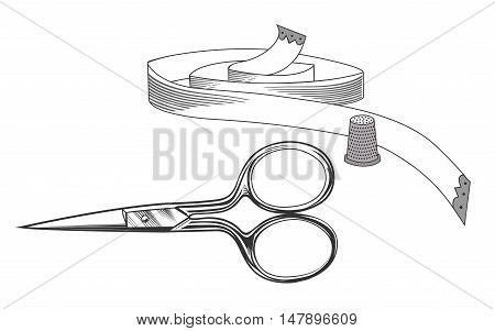 Scissors, thimble and measuring tape, sewing items