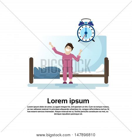 Morning Bedroom Cartoon Character Waking Up Stretching Flat Vector Illustration