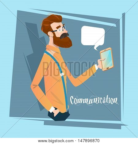 Man Chatting Texting, Businessman Using Cell Smart Phone Social Network Communication Flat Vector Illustration