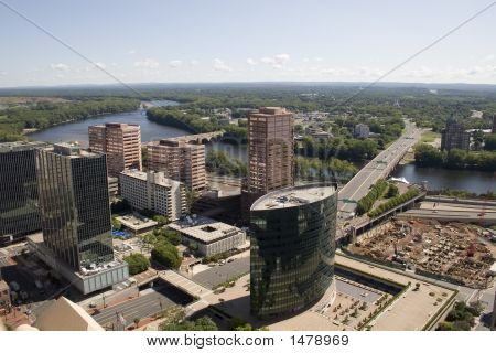 Arial View Of A City, River, Highway, Office Buildings
