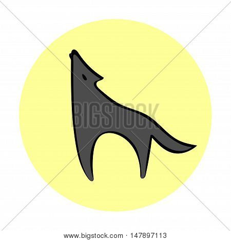 Silhouette howling wolf moonlight. Logo emblem image wolf. Wolf symbol freedom.