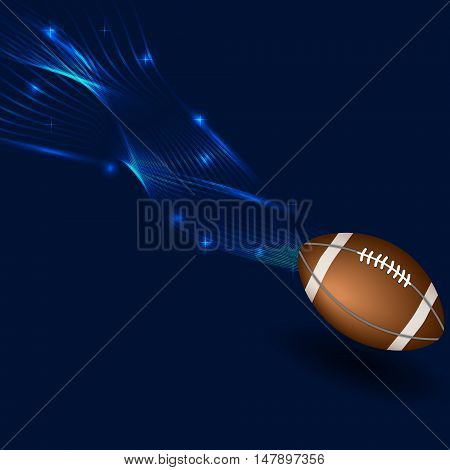 American footbal ball in neon lines. American football