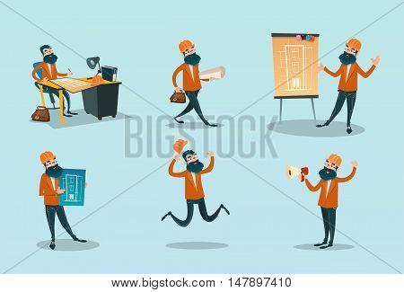 Builder Set Architect With Drawings Construction Flat Vector Illustration
