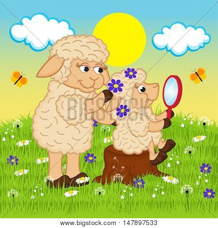 mother sheep adorns head daughter - vector illustration, eps