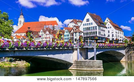 Beautiful places of Germany - floral town Tubingen,