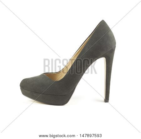 Beautiful female suede shoe with high heel isolated on white side view closeup