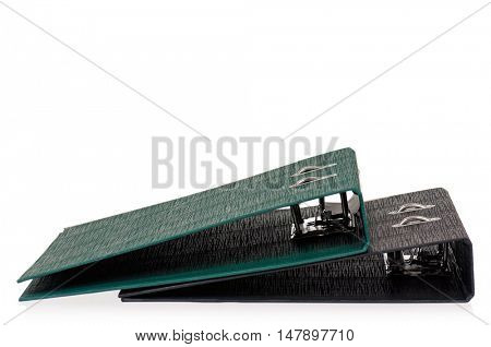 Two office folders file with papers. Green and black business file folders, isolated on white background.