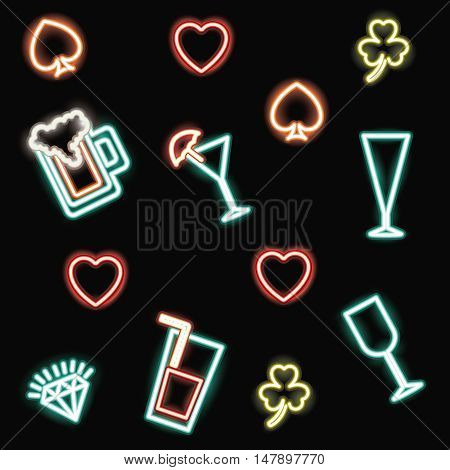 neon beer cocktails spade heart clover and diamond icon. Casino decoration and advertising theme. Colorful design. Vector illustration