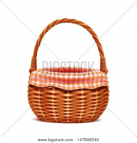 Realistic wicker basket with towel isolated on white background.