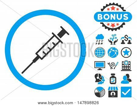 Empty Syringe icon with bonus elements. Glyph illustration style is flat iconic bicolor symbols, blue and gray colors, white background.