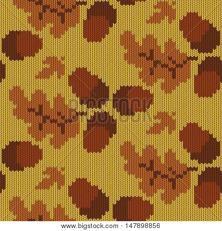 Vector Autumn Knitted Pattern 3 on yellow background