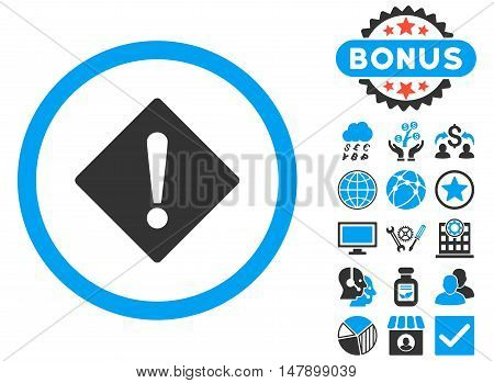 Error icon with bonus pictures. Glyph illustration style is flat iconic bicolor symbols, blue and gray colors, white background.