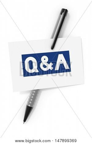 3d rendering of a business card and a ball pen and the text questions and answers