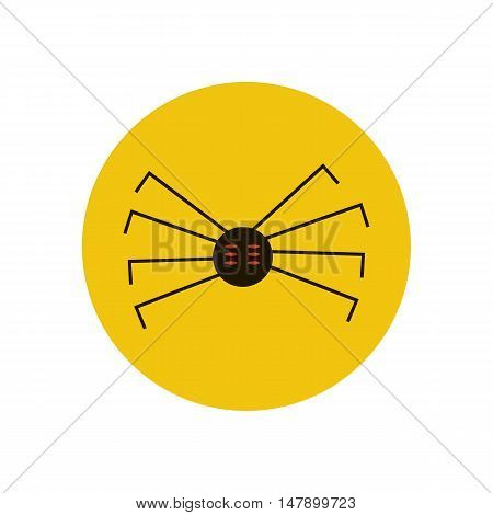 Spider vector illustration on the yellow background. Vector illustration