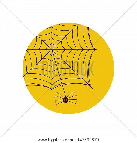Spider on the web illustration on the yellow background. Vector illustration