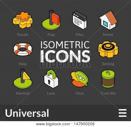 Isometric outline icons, 3D pictograms vector set 1 - universal symbol collection
