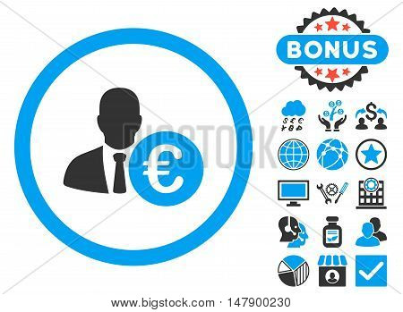 Euro Banker icon with bonus pictures. Glyph illustration style is flat iconic bicolor symbols, blue and gray colors, white background.