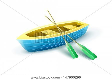 Wooden fishermans boat from paddles for fishing or kayaking extreme sports and entertainment. Isolated white background. Fisherman. Transport with. Rasterized illustration