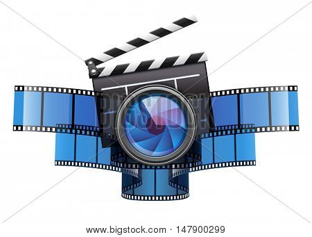 Online movie theater cinema art concept. Creative icon design with clapper. Film tape and glass lens. Isolated on white transparent background. Rasterized illustration