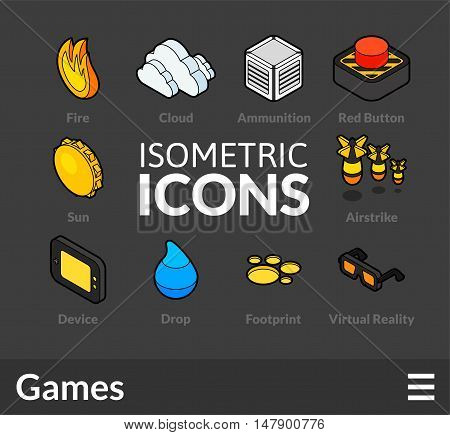 Isometric outline icons, 3D pictograms vector set 13 - Games symbol collection