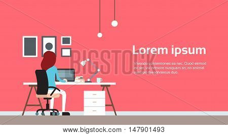 Woman Work Laptop Computer Office Business Workplace Back Rear View Flat Vector Illustration