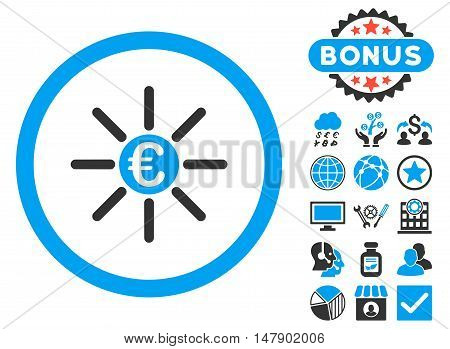 Euro Distribution icon with bonus elements. Glyph illustration style is flat iconic bicolor symbols, blue and gray colors, white background.