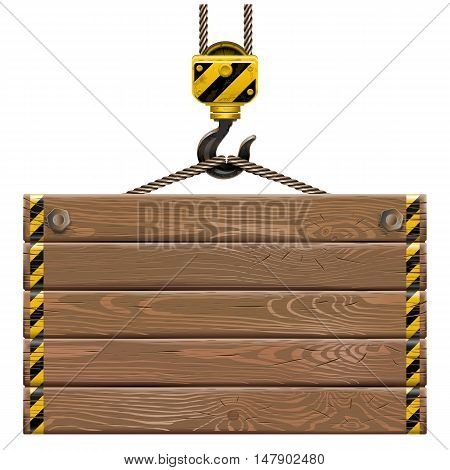 Vector Wooden Frame with Crane Hook isolated on white background