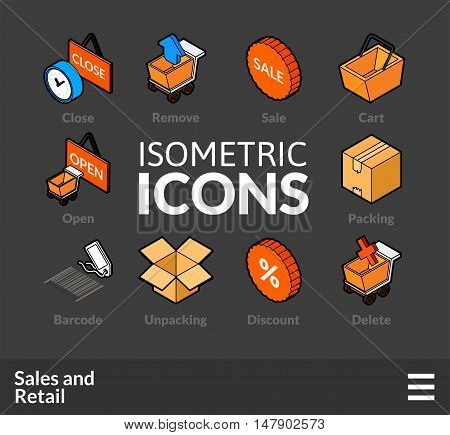 Isometric outline icons, 3D pictograms vector set 27 - Sales and retail symbol collection