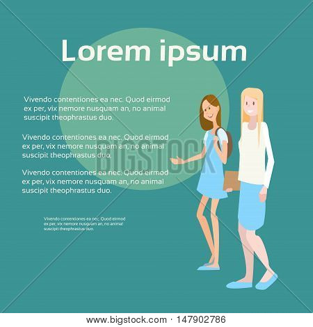 Two Student Girl University Education School Pupils Communication Banner With Copy Space Flat Vector Illustration