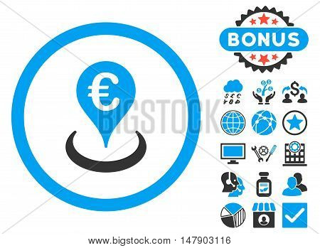 Euro Location icon with bonus pictures. Glyph illustration style is flat iconic bicolor symbols, blue and gray colors, white background.