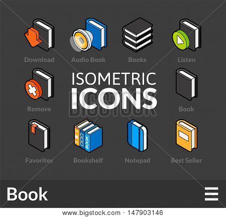 Isometric outline icons, 3D pictograms vector set 43 - Book symbol collection