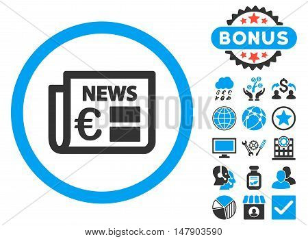 Euro Newspaper icon with bonus symbols. Glyph illustration style is flat iconic bicolor symbols, blue and gray colors, white background.