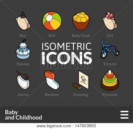 Isometric outline icons, 3D pictograms vector set 59 - Baby and childhood symbol collection