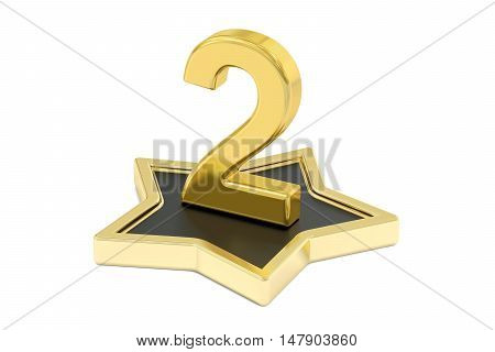 3D golden number 2 on star podium 3D rendering isolated on white background