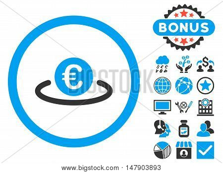 Euro Placement icon with bonus symbols. Glyph illustration style is flat iconic bicolor symbols, blue and gray colors, white background.