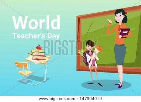 Teacher Day Schoolboy Group Hold Flowers Present Greeting Woman Classroom Flat Vector Illustration