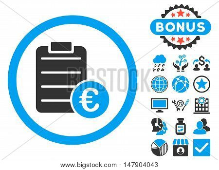 Euro Prices icon with bonus design elements. Glyph illustration style is flat iconic bicolor symbols, blue and gray colors, white background.