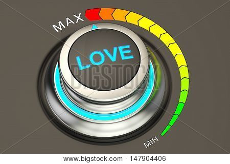 love knob 3D rendering isolated on black background