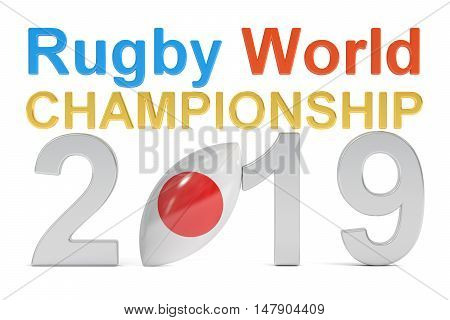 Rugby World Championship 2019 Japan concept 3D rendering isolated on white background
