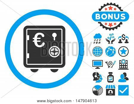 Euro Safe icon with bonus pictures. Glyph illustration style is flat iconic bicolor symbols, blue and gray colors, white background.