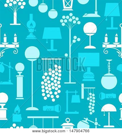 Lamps for home and garden, background, seamless, turquoise. Vector background with different lamps. Light blue and white flat symbols on a turquoise background.