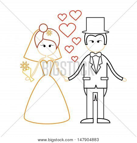 Cartoon Marriage Couple Fiance And Bride Wear Wedding Dress Holding Hands Vector Illustration