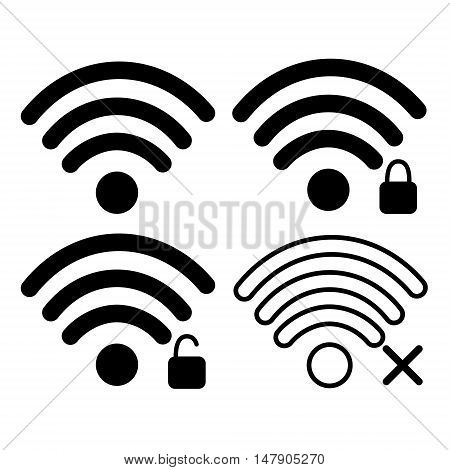 Wifi Signal Icon Free, Locked Wireless Connection Flat Vector Illustration