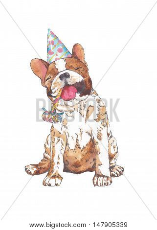 French bulldog with Party Hat and whistle on a white background