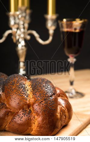 Challah Bread, Candelabrum and Wine For Shabbat