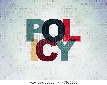 Insurance concept: Painted multicolor text Policy on Digital Data Paper background