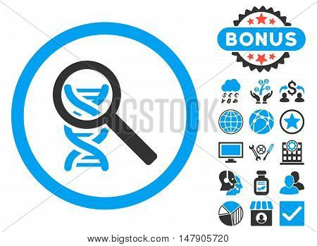 Explore DNA icon with bonus pictures. Glyph illustration style is flat iconic bicolor symbols, blue and gray colors, white background.