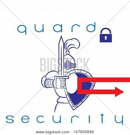 Knight on the protection of your interests.Security guard on a white background vector illustration.Vector illustration of the storage of your information