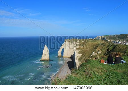 Etretat is a tourist and farming norman town